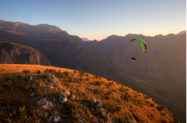 Farmer soars the Mulanje Massif, Malawi