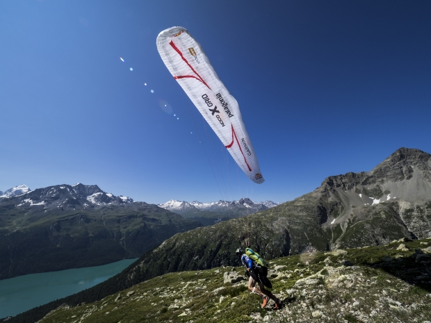 Gavin McClurg (USA2) performs during the Red Bull X-Alps in St.Moritz, Switzerland on July 11th 2015
