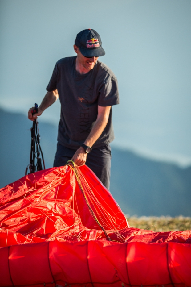 Will Gadd preps for launch on the Rockies Traverse. Photo Pablo Durana