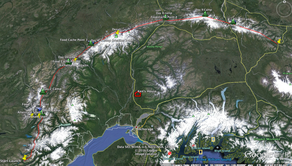 Our planned route, across the north side of the Alaska Range